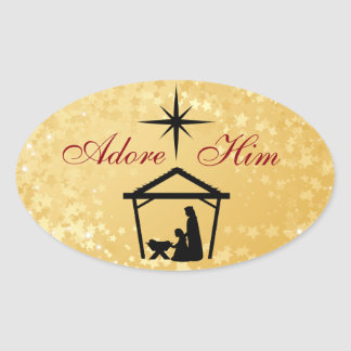 Adore Him - Nativity Scene Christmas Stickers
