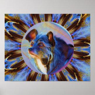 Adoring Dog Eyes Abstract Animal Art Poster
