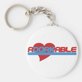 Adorkable Adorable Dork Basic Round Button Key Ring