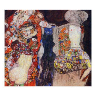 adorn the bride with veil and wreath by Klimt Poster