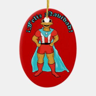 Adorno Super Coqui Feliz Navidad Christmas Ornament