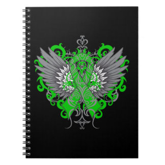 Adrenal Cancer Green Ribbon Tattoo Wings Notebooks