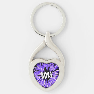 Adri Name Star in Purple Silver-Colored Twisted Heart Key Ring