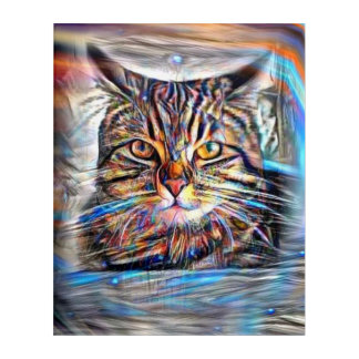 Adrift in Colors Abstract Revolution Cat Acrylic Print