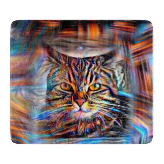 Adrift in Colors Abstract Revolution Cat Cutting Board