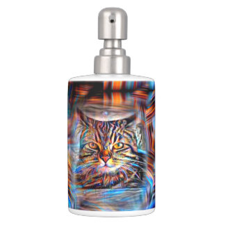 Adrift in Colors Abstract Revolution Cat Soap Dispenser And Toothbrush Holder