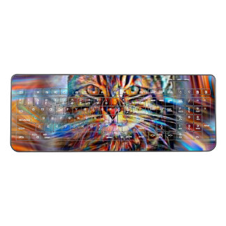 Adrift in Colors Abstract Revolution Cat Wireless Keyboard