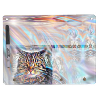 Adrift in Colors Tropical Sunset Cat Dry Erase Board With Key Ring Holder