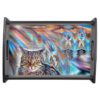 Adrift in Colors Tropical Sunset Cat Serving Tray