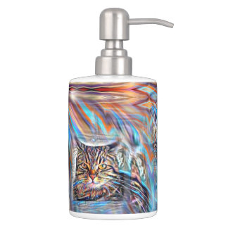 Adrift in Colors Tropical Sunset Cat Soap Dispenser And Toothbrush Holder
