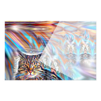 Adrift in Colors Tropical Sunset Cat Stationery