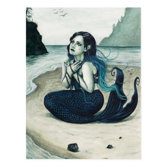 Adrift Sad Mermaid Postcard