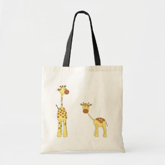 Adult and Baby Giraffe. Cartoon Budget Tote Bag
