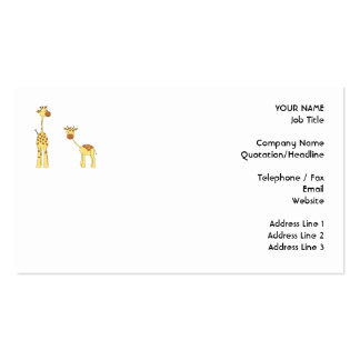 Adult and Baby Giraffe. Cartoon Business Cards
