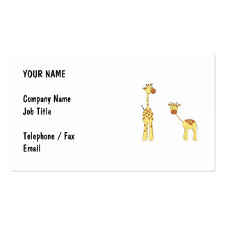 Adult and Baby Giraffe. Cartoon Business Card Template