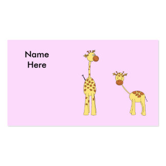 Adult and Baby Giraffe. Cartoon Pack Of Standard Business Cards