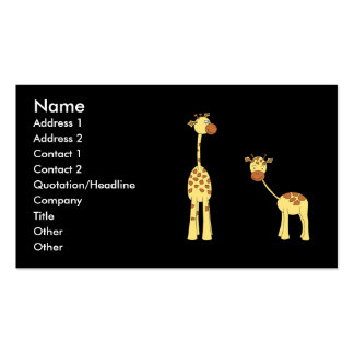 Adult and Baby Giraffe. Cartoon Business Card