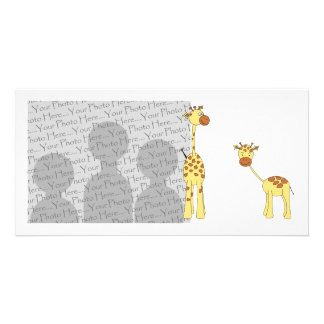 Adult and Baby Giraffe. Cartoon Card