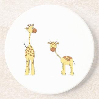 Adult and Baby Giraffe. Cartoon Coaster