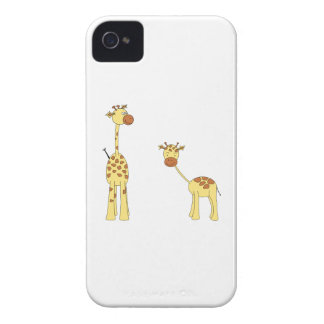 Adult and Baby Giraffe. Cartoon iPhone 4 Case-Mate Case