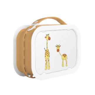 Adult and Baby Giraffe. Cartoon Lunch Box