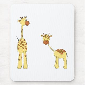 Adult and Baby Giraffe. Cartoon Mouse Mat