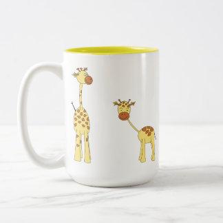 Adult and Baby Giraffe Cartoon Coffee Mugs