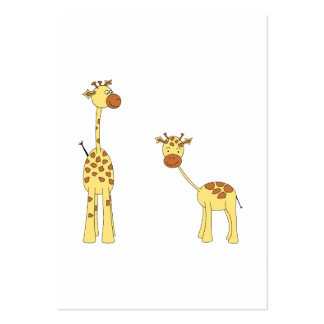 Adult and Baby Giraffe. Cartoon Pack Of Chubby Business Cards