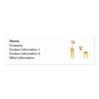 Adult and Baby Giraffe. Cartoon Pack Of Skinny Business Cards