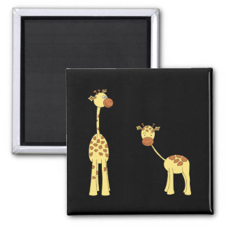 Adult and Baby Giraffe. Cartoon Square Magnet
