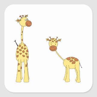 Adult and Baby Giraffe. Cartoon Square Sticker