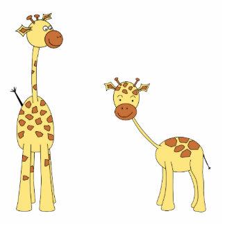 Adult and Baby Giraffe. Cartoon Standing Photo Sculpture