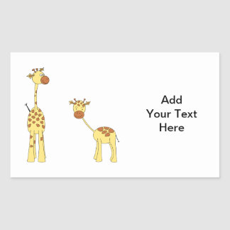 Adult and Baby Giraffe Cartoon Rectangle Stickers
