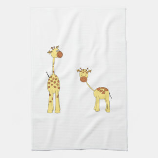 Adult and Baby Giraffe. Cartoon Tea Towel