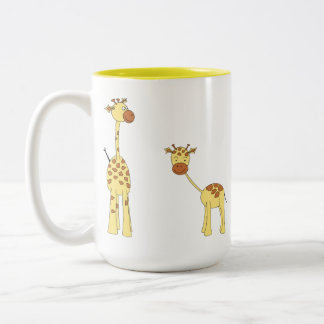 Adult and Baby Giraffe. Cartoon Two-Tone Coffee Mug
