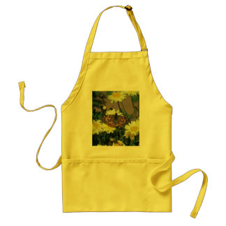 Adult Apron with butterfly and flowers