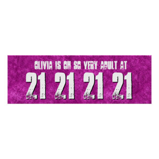 Adult at 21st Birthday Party Banner Custom Name Z9 Poster