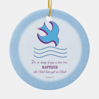 Adult Baptism Dove on Blue Christmas Ornament