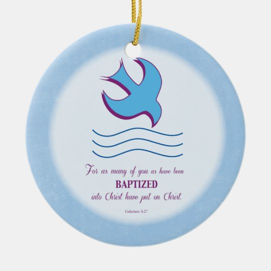 Adult Baptism Dove on Blue Christmas Ornament