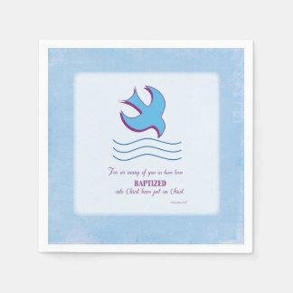 Adult Baptism Dove on Blue Disposable Serviette