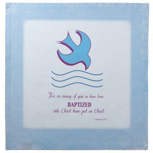 Adult Baptism Dove on Blue Napkins