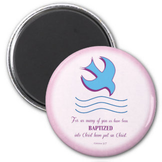 Adult Baptism Dove on Pink 6 Cm Round Magnet