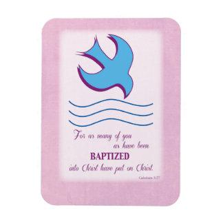 Adult Baptism Dove on Pink Vinyl Magnets