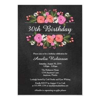 Adult Birthday Invitation, floral chalkboard style 13 Cm X 18 Cm Invitation Card