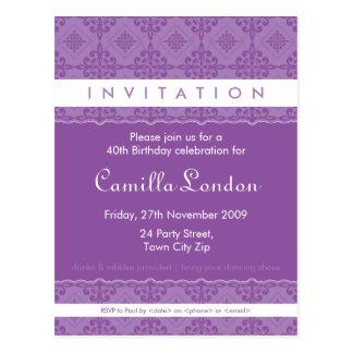 ADULT BIRTHDAY INVITATION :: ornately patterned L1 Postcard