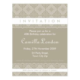 ADULT BIRTHDAY INVITATION :: ornately patterned L2 Postcard