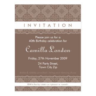 ADULT BIRTHDAY INVITATION :: ornately patterned P6 Postcard