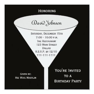 Adult Birthday Party Invites --  A Toast on Black