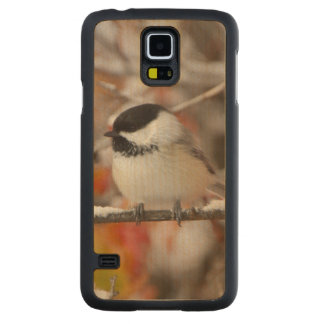 Adult Black-capped Chickadee in Snow, Grand Carved Maple Galaxy S5 Case