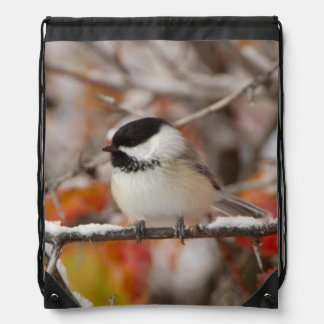 Adult Black-capped Chickadee in Snow, Grand Drawstring Bag
